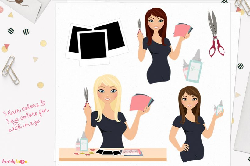 Woman scrapbooking character clip art L159 Zara example image 1