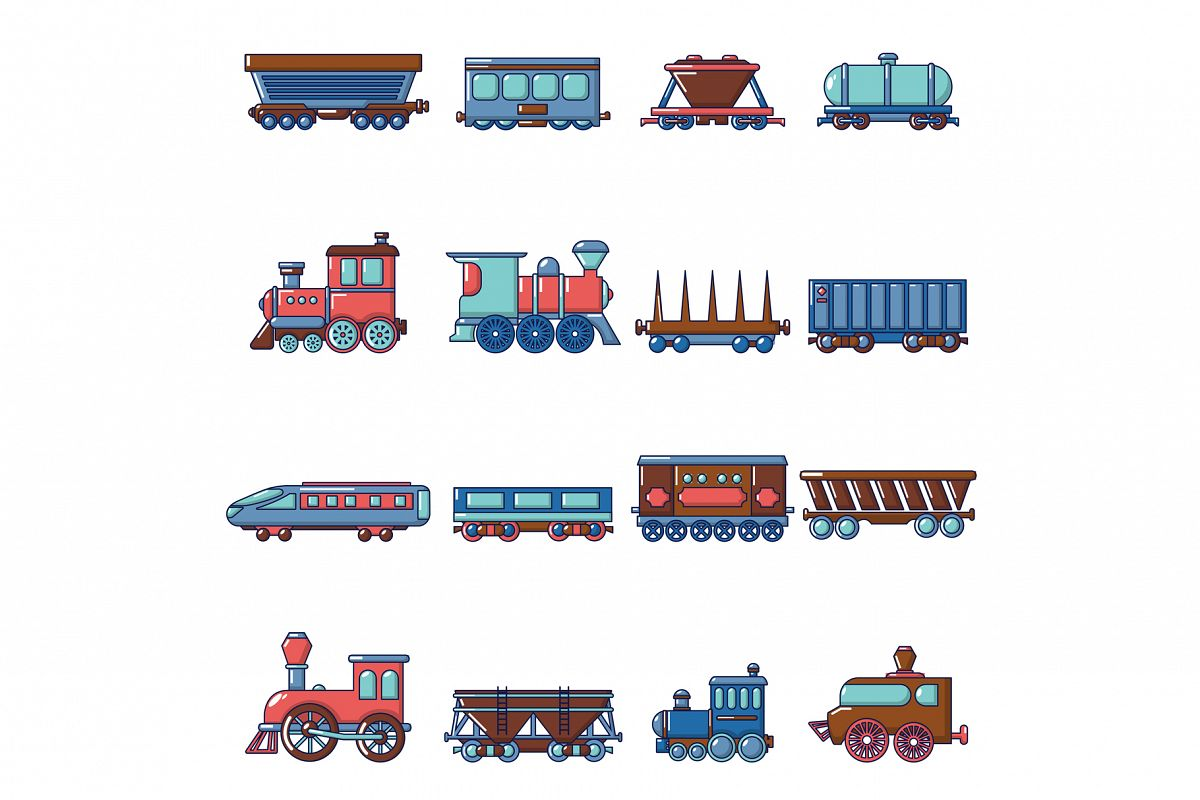Railway carriage icons set, cartoon style example image 1
