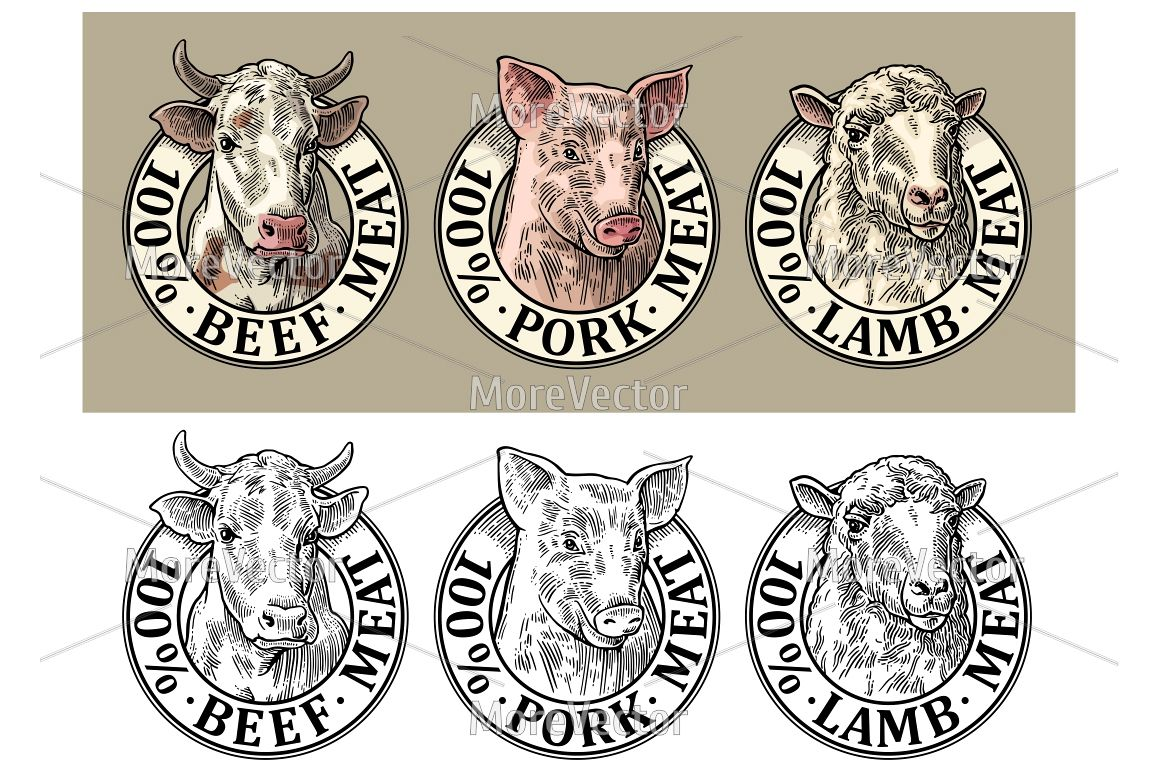 Cows, pig, sheep head  100 percent beef pork lamb meat lettering