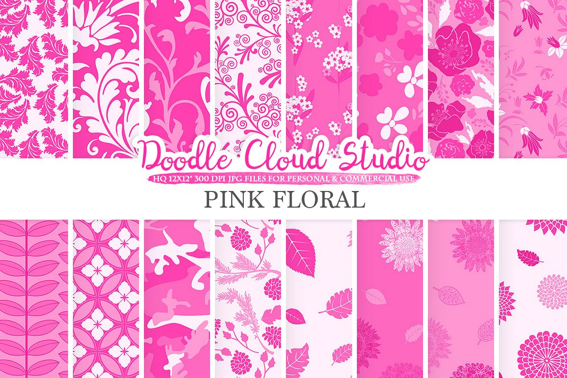 Pink Floral digital paper, Fuchsia Floral pattern Flowers Dhalia Leaves Damask Calico background, Instant Download Personal & Commercial Use example image 1