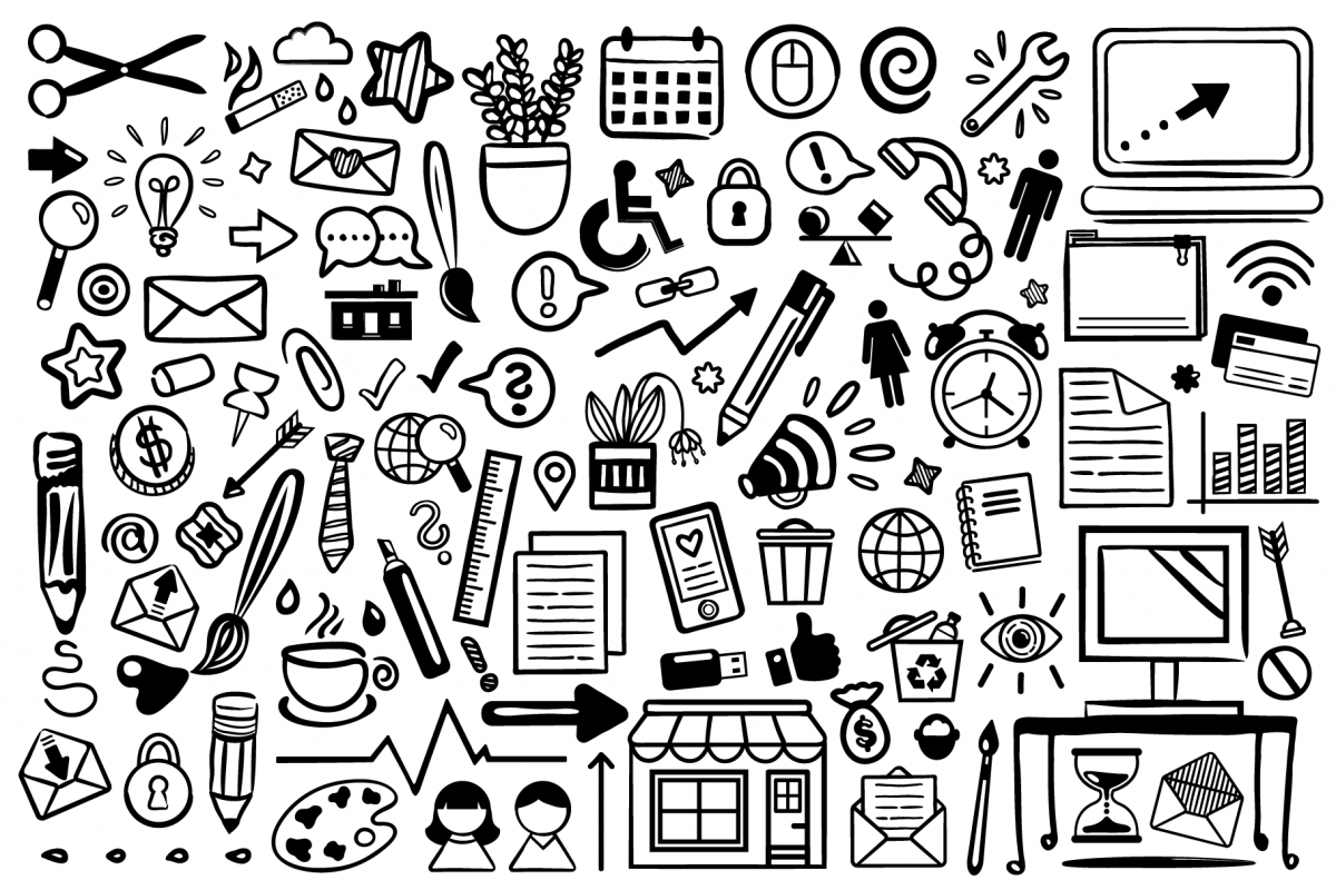 Office Doodle Clip Art Set example image 1