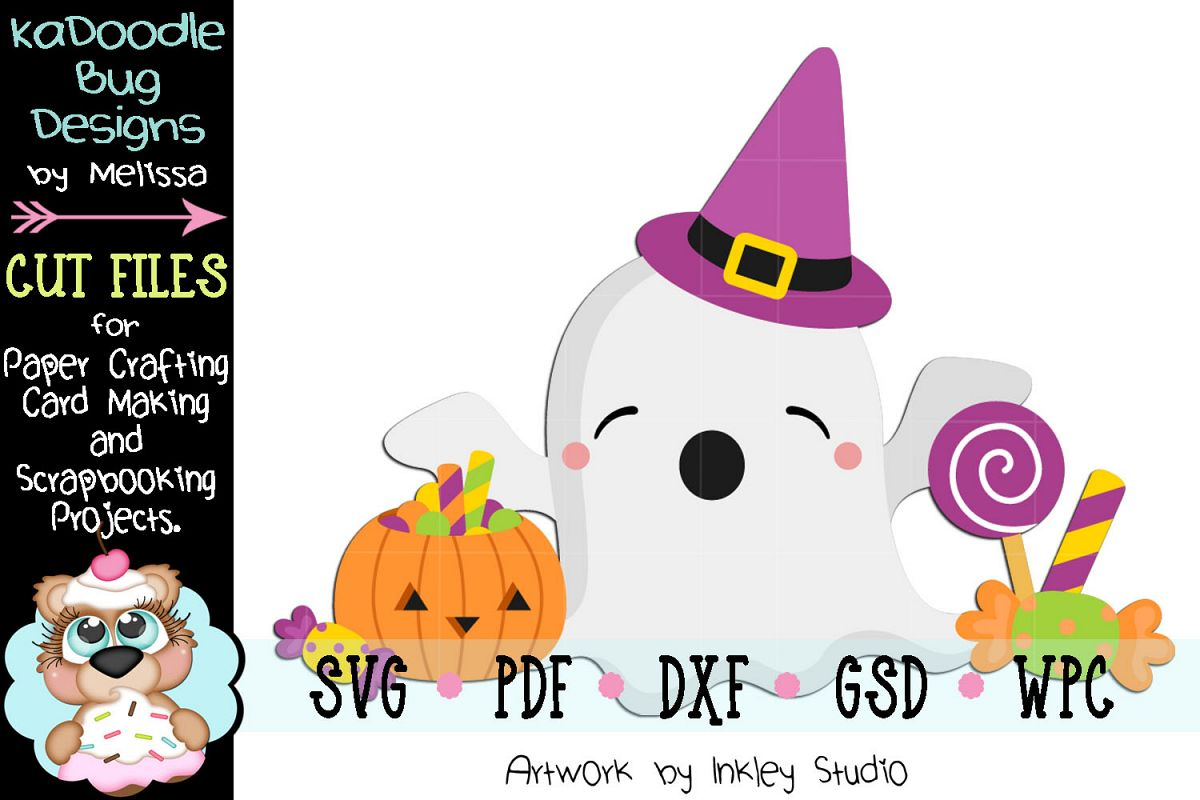 Halloween Candy Ghost Cut File - SVG PDF DXF GSD WPC example image 1