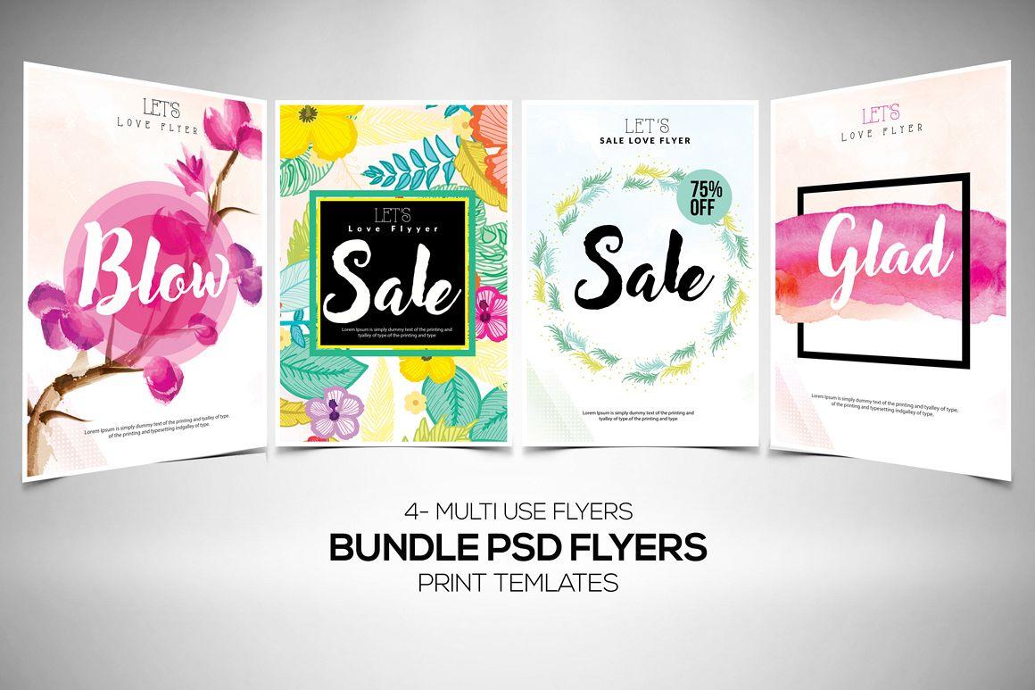 4 Sale Typography Flyers Bundle example image 1