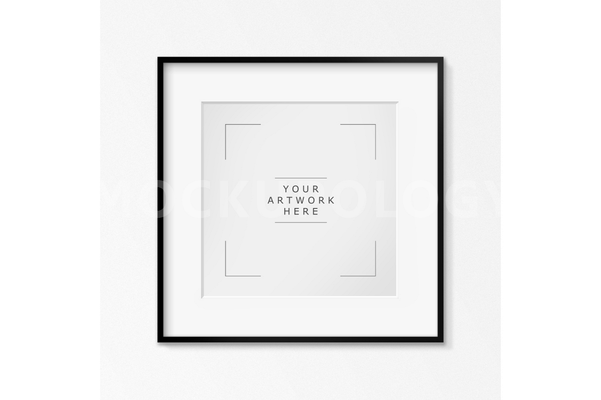 Square Digital Black Frame Mockup White Wallpaper Background Styled Photography Poster Framed