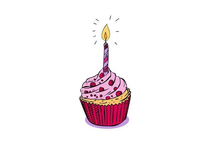 Birthday Muffin Cake With Candle Drawing example image 1