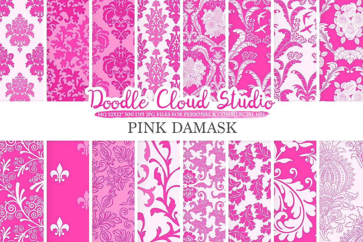 Pink Damask digital paper, Swirls patterns, Digital Floral Damask, Pink background, Instant Download for Personal & Commercial Use example image 1