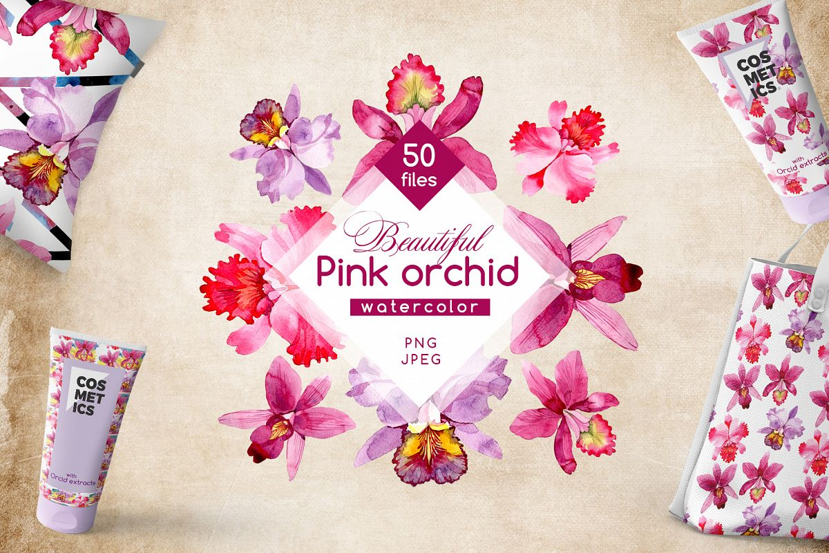Pink Orchid Png Watercolor Flower Set
