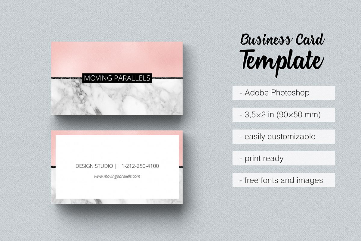 Rose Gold Pink Foil Marble Business Card Example Image 1