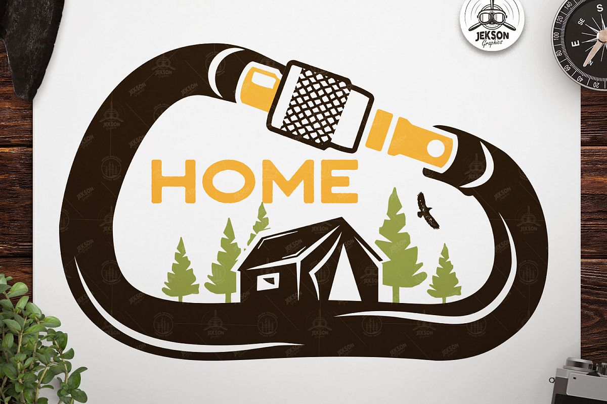 Vintage Travel Logo, Retro Climbing Camp Badge - Nature Home example image 1