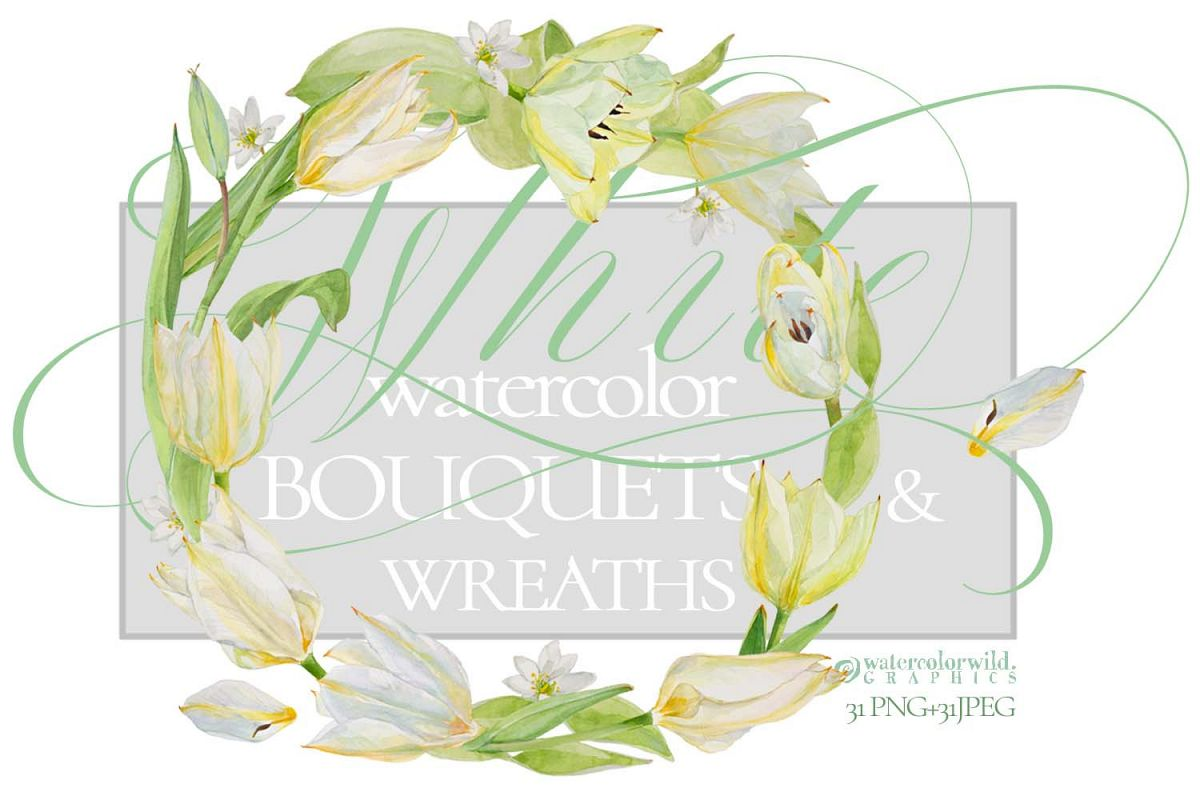 White Watercolor Bouquets & Wreaths example image 1