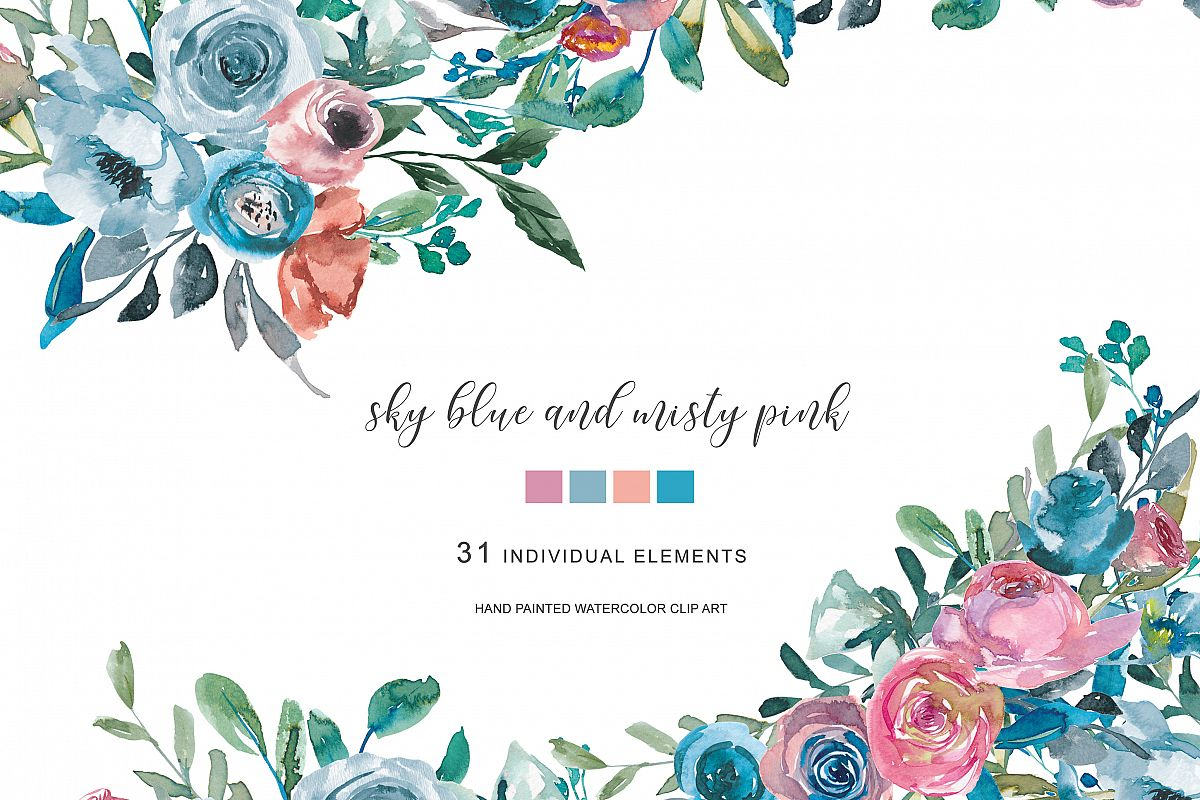 Watercolor Sky Blue Misty Pink Flowers Clipart Example Image 1