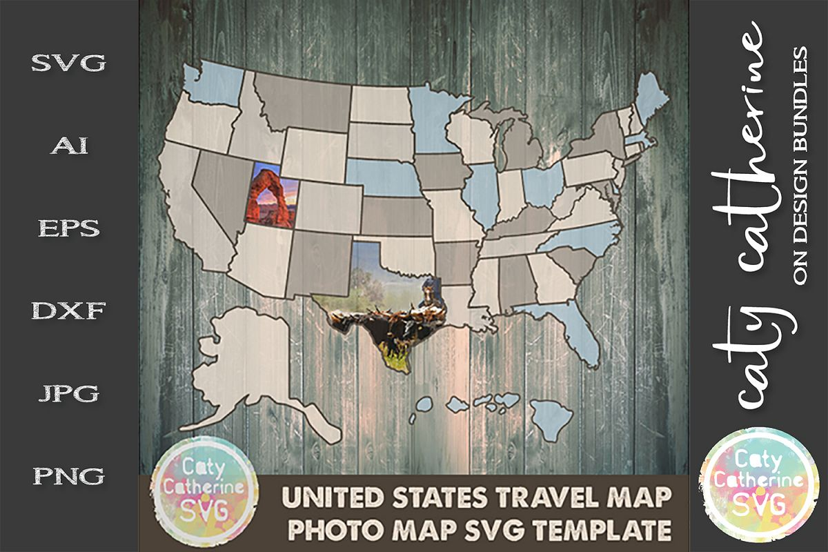 USA Travel Photo Map Template SVG Cut File example image 1