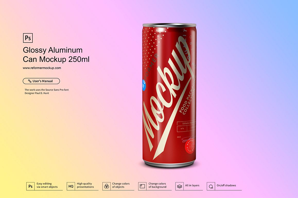 Glossy Aluminum Can Mockup 250ml example image 1