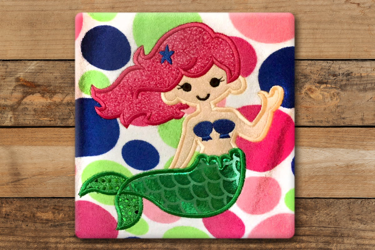 Mermaid Applique Embroidery Design example image 1