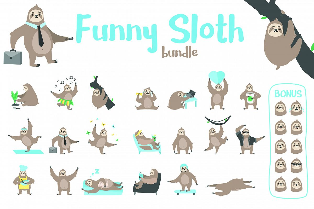 Funny Sloth Bundle example image 1
