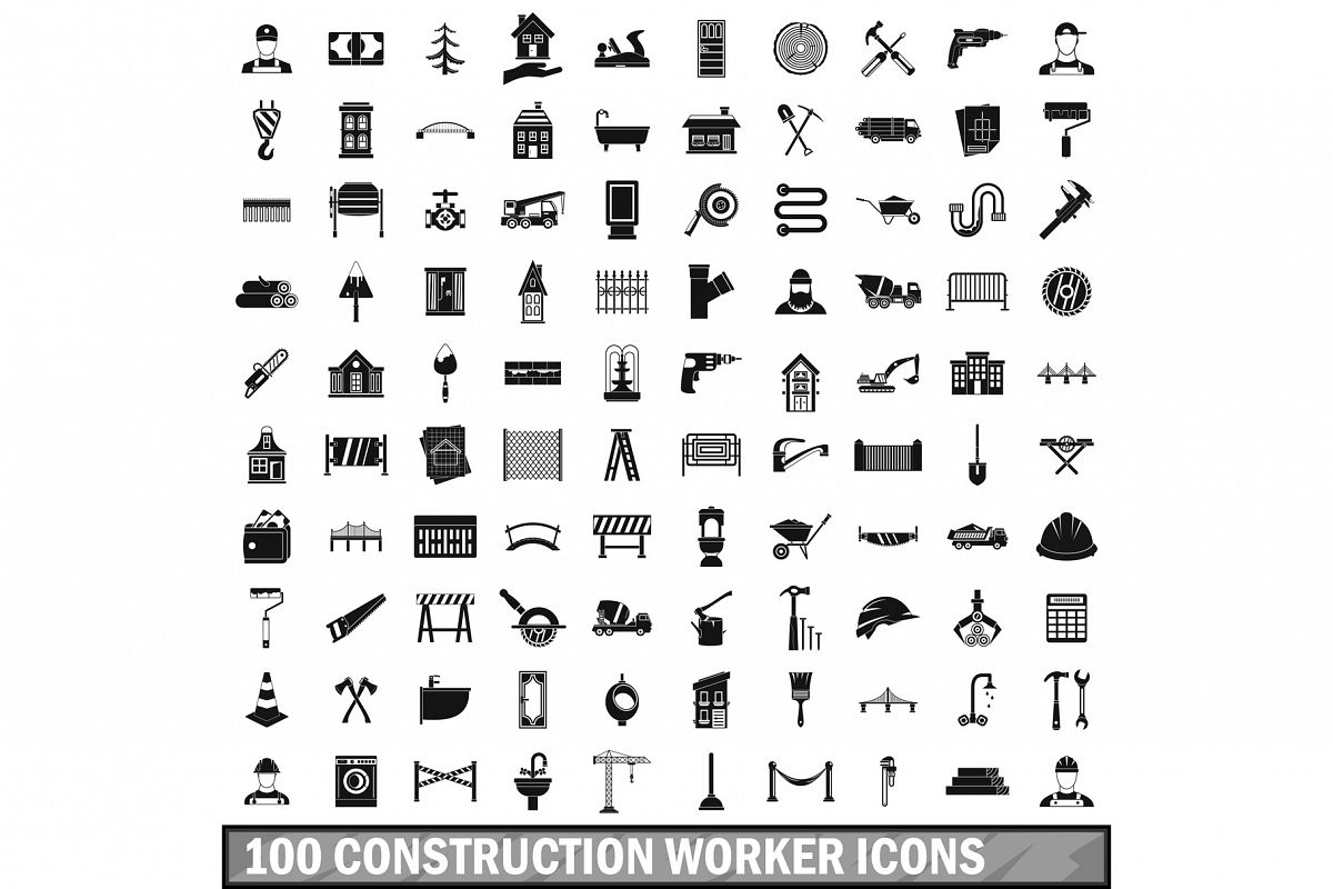 100 construction worker icons set, simple style example image 1