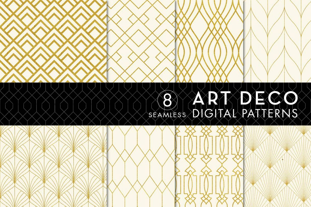 8 Seamless Art Deco Patterns - Ivory & Gold Set 1 example image 1