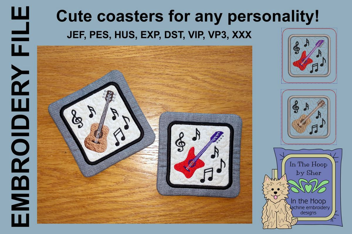 Guitars Coasters - 4 x 4 and 5 x 7 Hoops example image 1