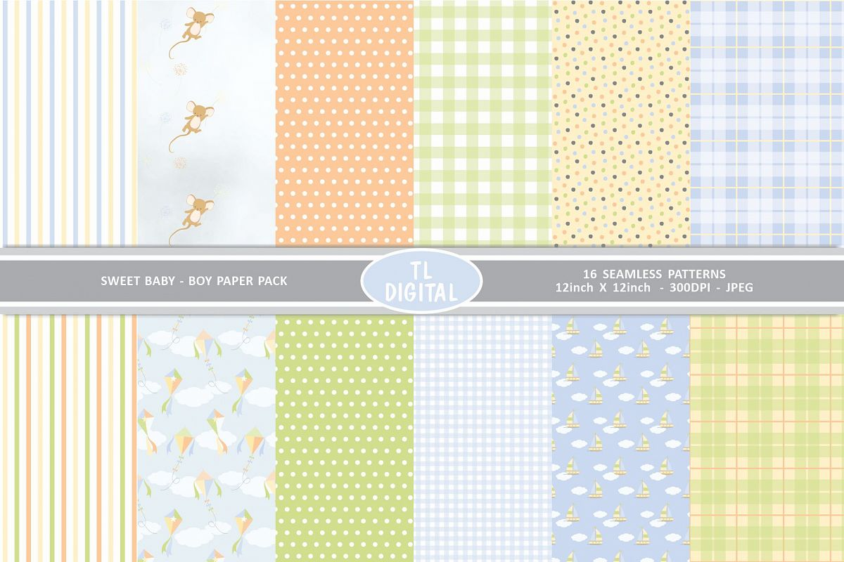 Sweet Baby Boy Paper Pack - 12 Seamless Patterns example image 1