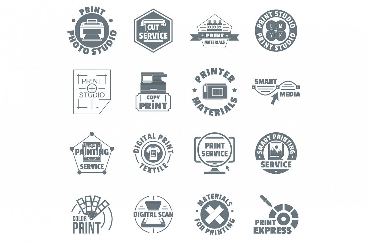 Print service logo icons set, simple style example image 1