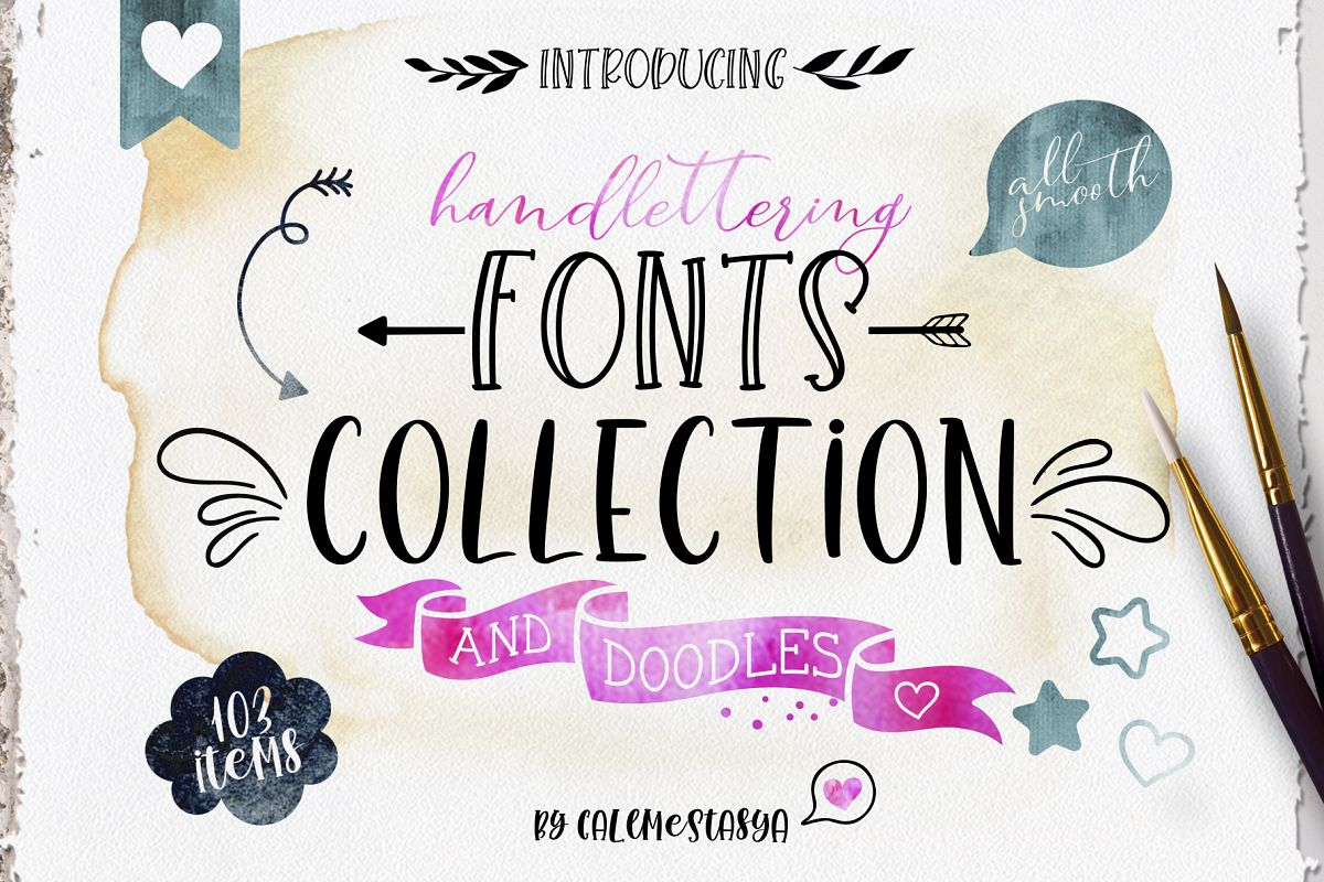 Smooth Handlettering Fonts Collection and Doodles  example image 1