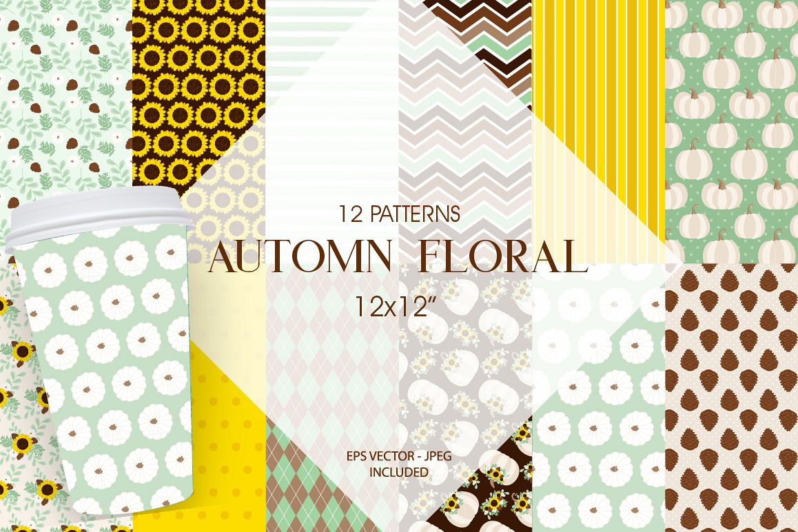 Autumn Floral Pattern collection, vector ai, example image 1