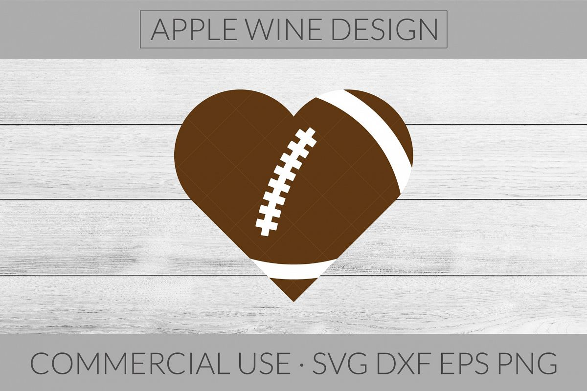 Football Heart SVG DXF PNG EPS Cutting File example image 1