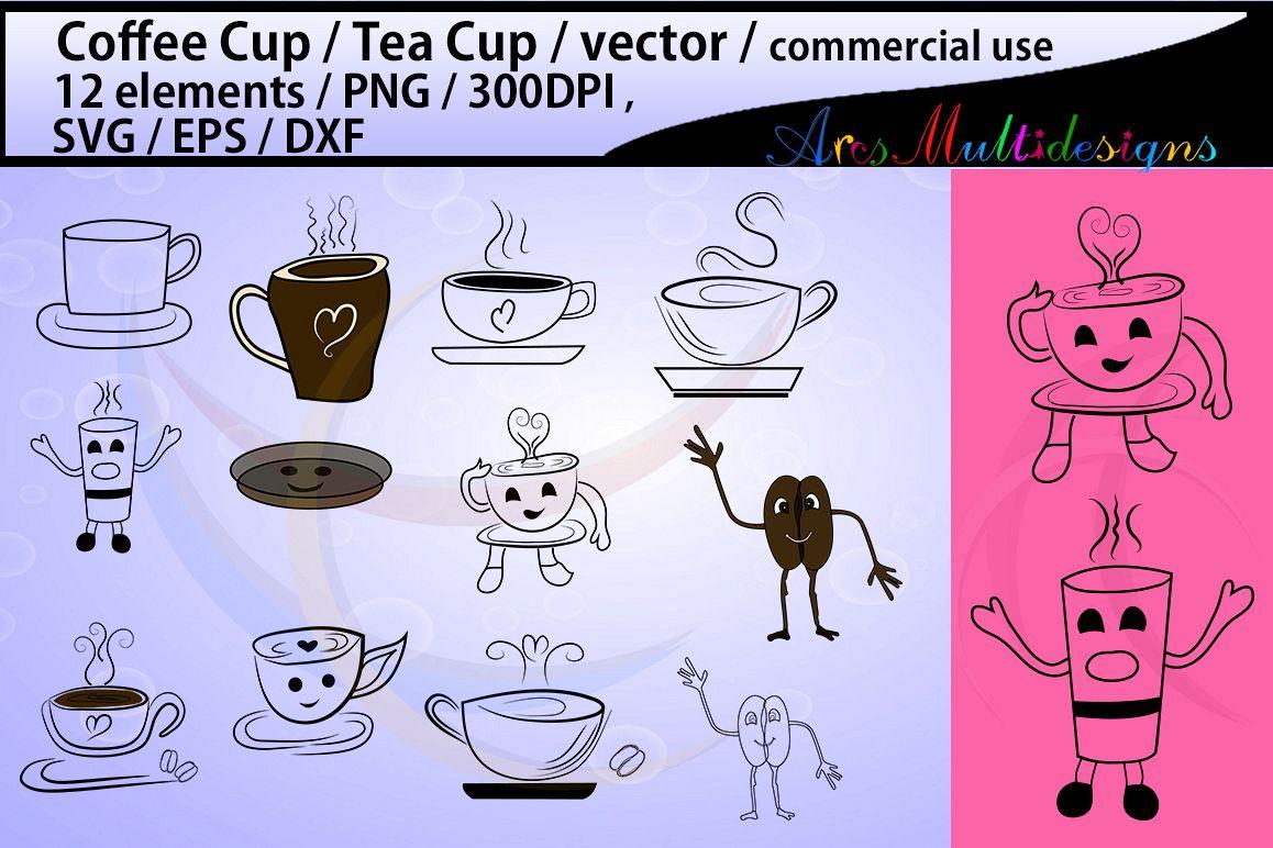 coffee svg tea mug cartoon cup co design bundles