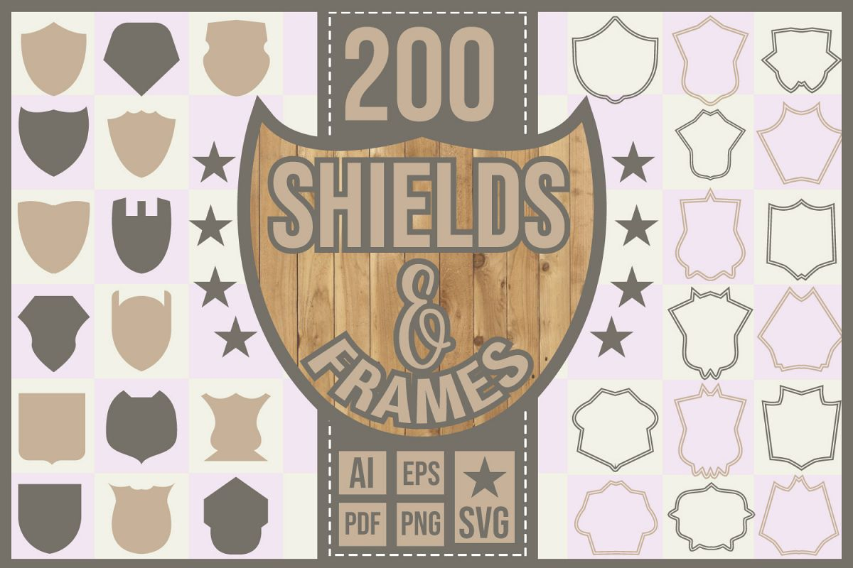 200 Shields and Frames SVG, AI, EPS, PDF, PNG example image 1
