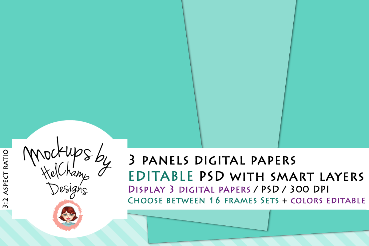3 Panels Mockup for Digital Papers - M05 example image 1