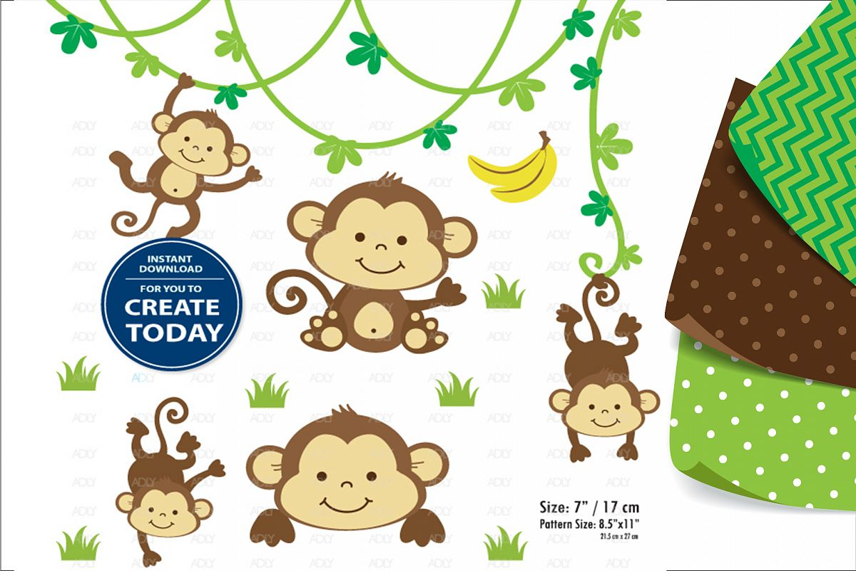Monkey Sitting Pose Boy with Banana, Clip Art,Digital Print example image 1