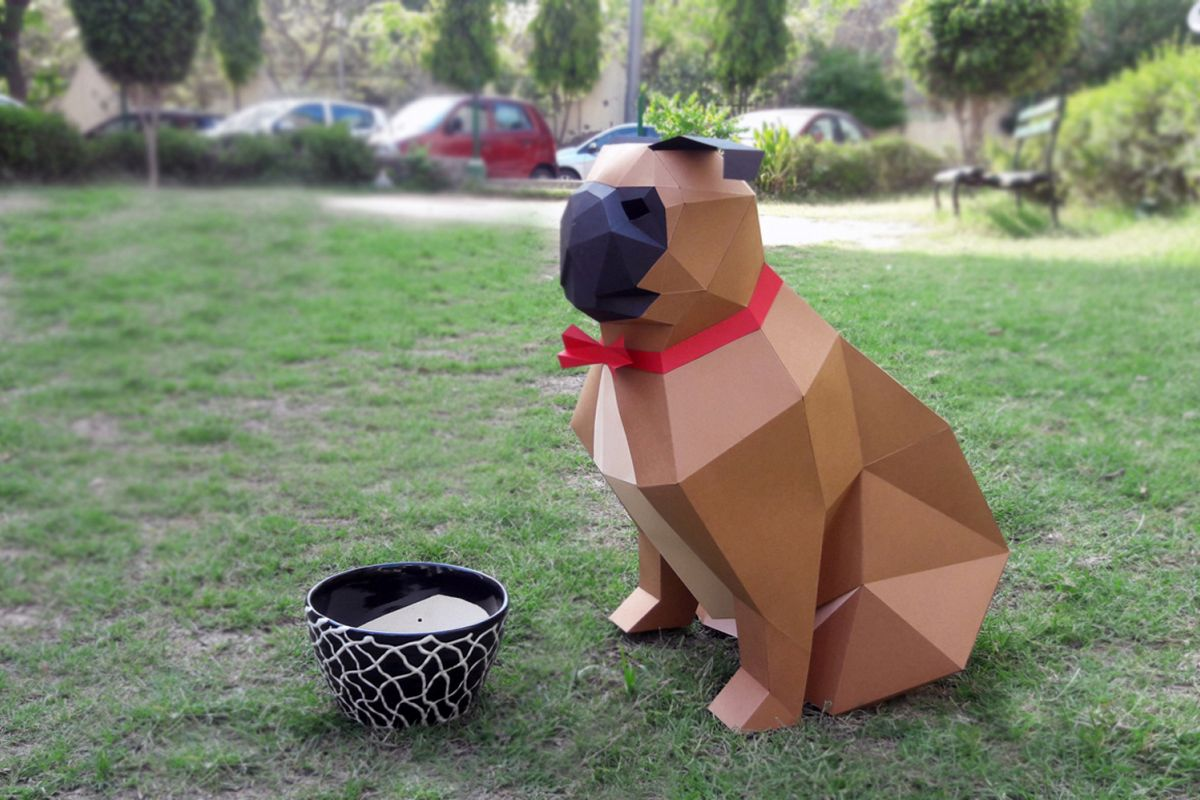 DIY Paper Pug - 3d papercraft example image 1