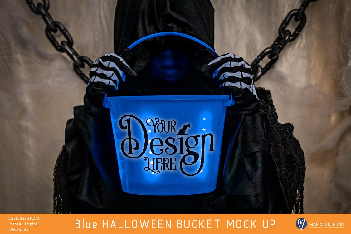 Blue Halloween Bucket - styled photo, mock up example image 1