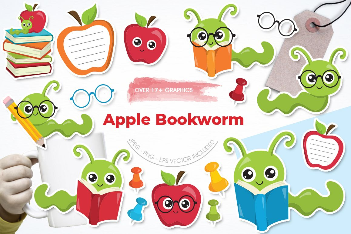 Apple Bookworm graphic and illustrations example image 1