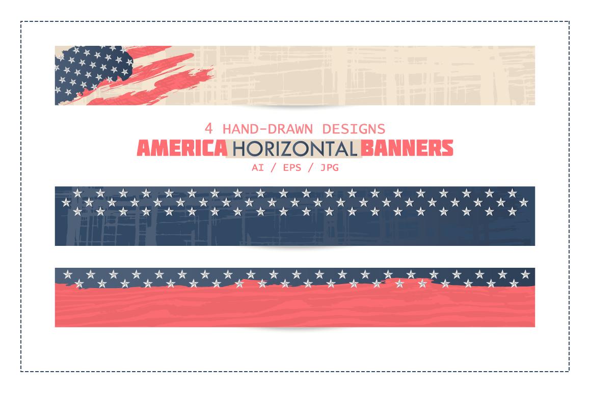 America horizontal banners. Usa background. example image 1