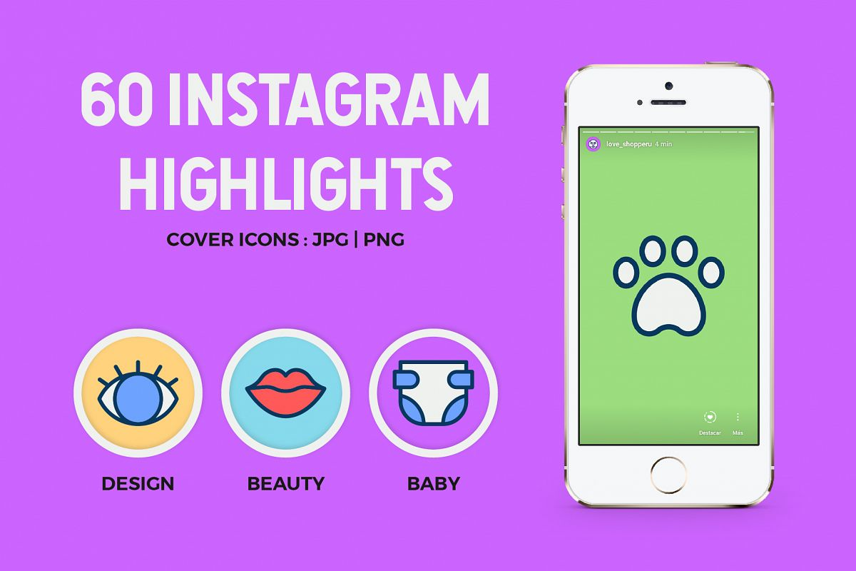 60 Instagram Icons Highlights example image 1
