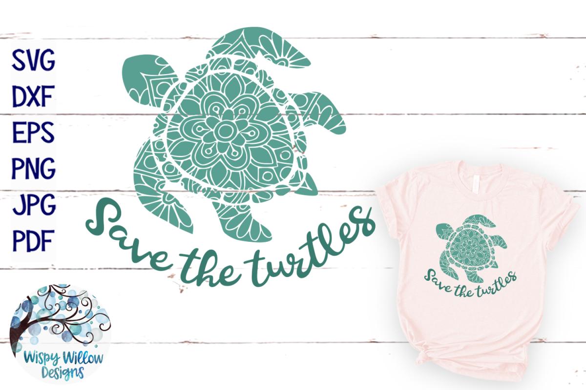 Save The Turtles SVG | Turtle Mandala SVG Cut File example image 1