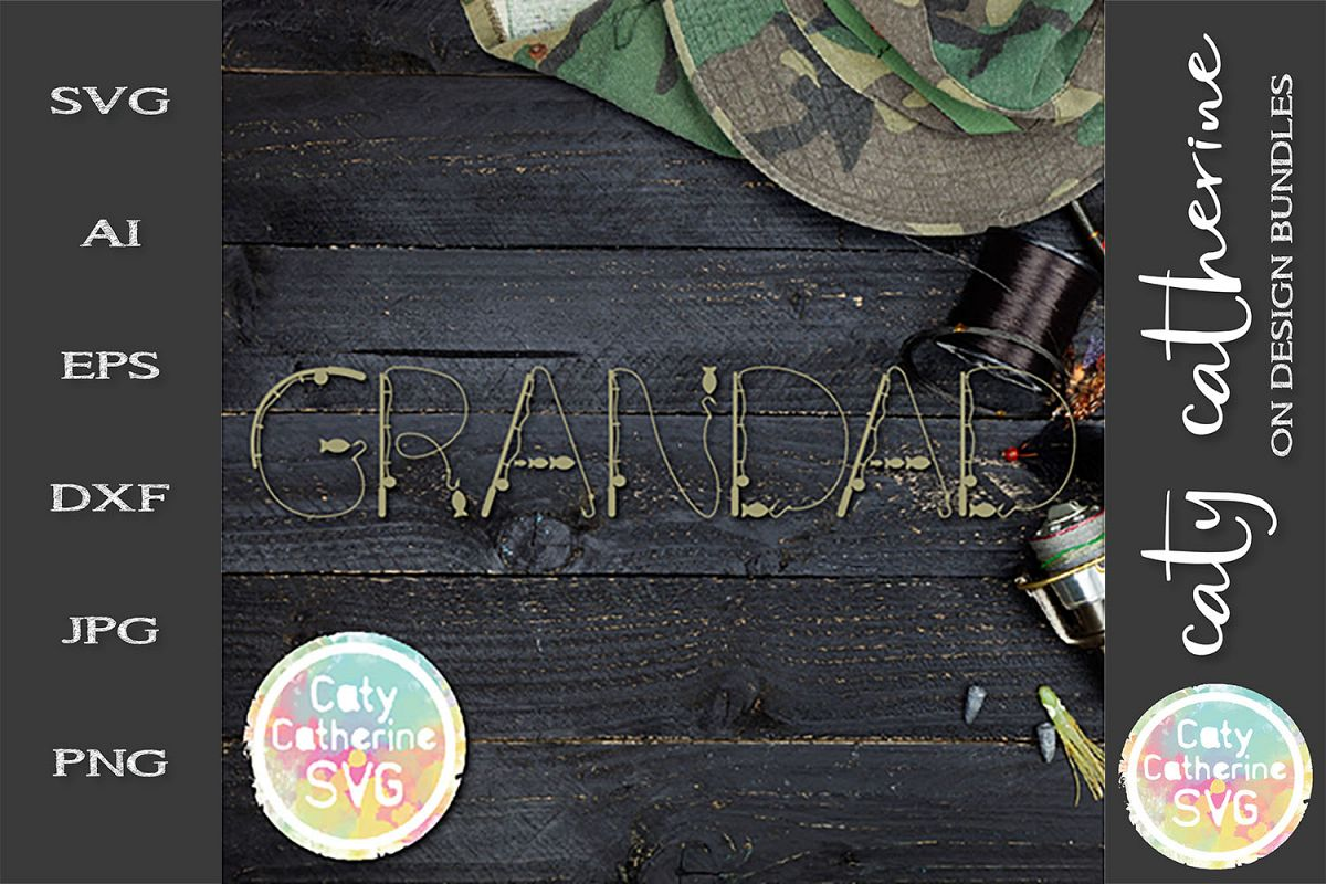 Grandad Father's Day Fishing Lure Word Art SVG Cut File example image 1