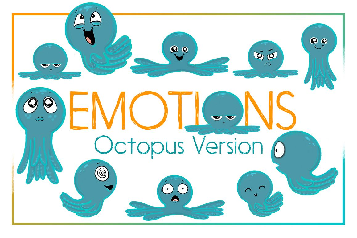 Octopus Emotions   Nautical Emotion Octopus Clipart  Octopus example image 1