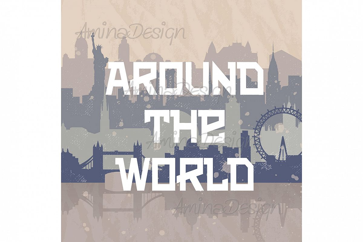 Vintage vector background about travel.  example image 1