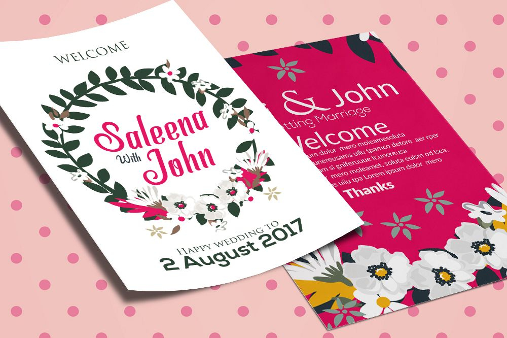 Double Sided Wedding Invitation Card