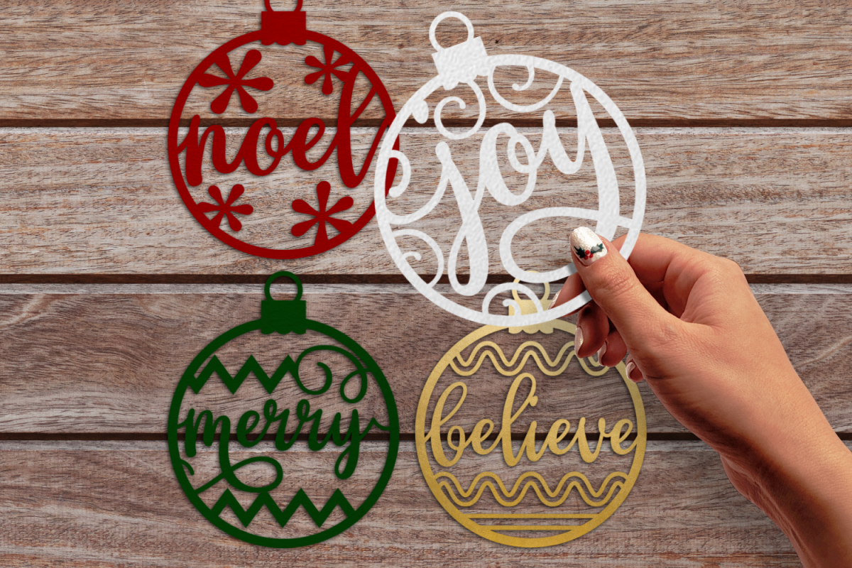 Papercut Christmas Word Ornaments SVG Design example image 1