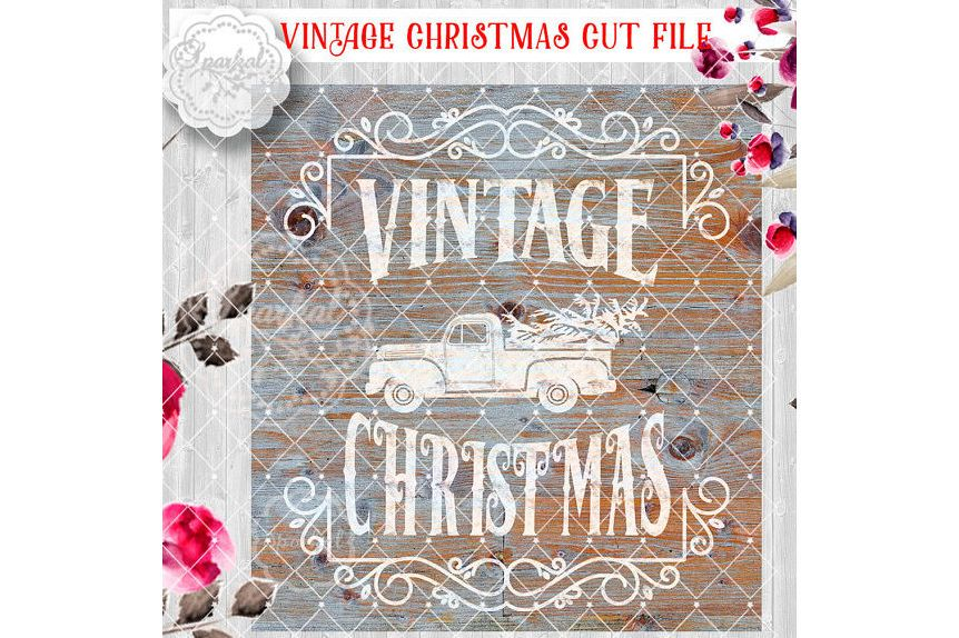Vintage Rustic Christmas SVG File Cutting Ford Pickup Truck Vector Clipart Holiday Decor