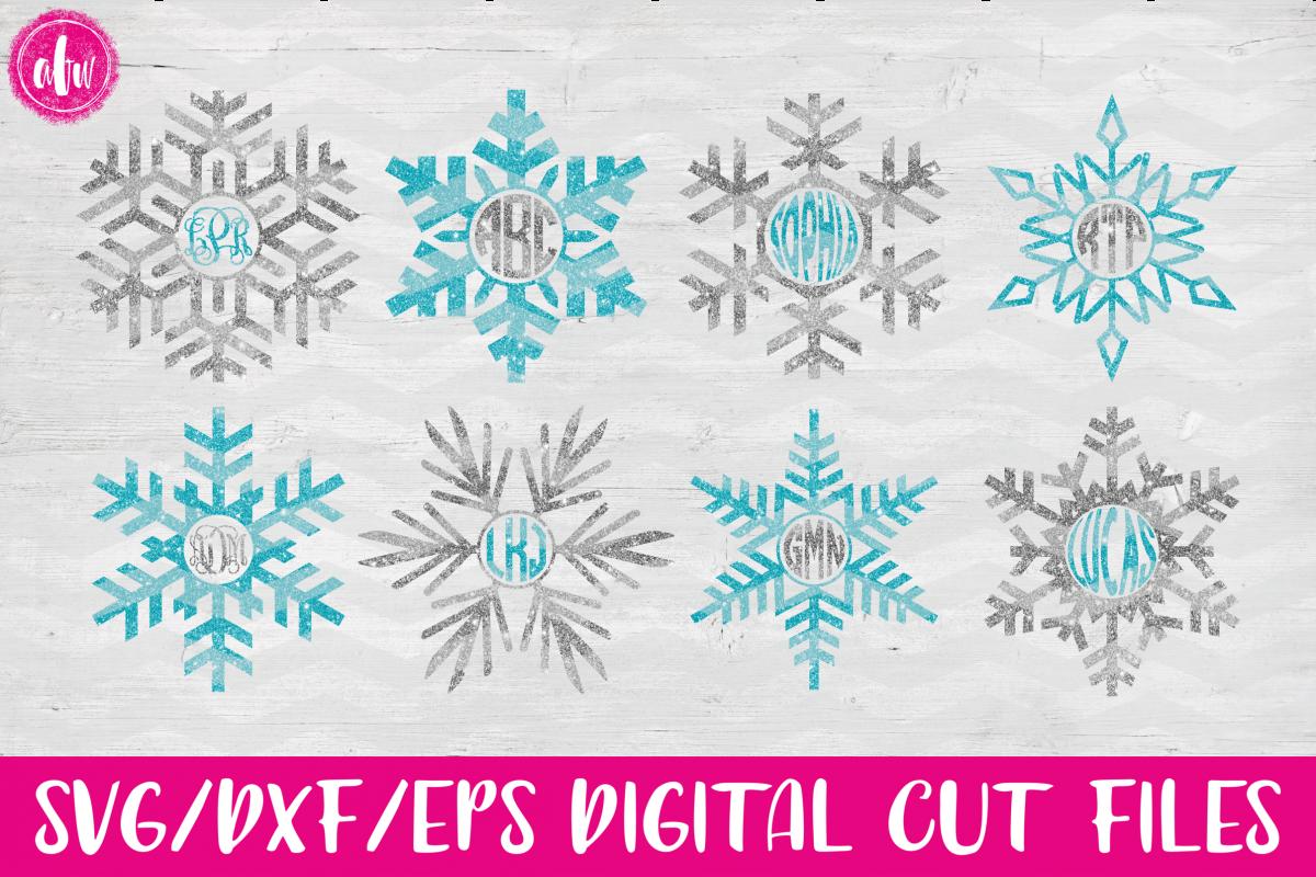 Monogram Snowflake Set - SVG, DXF, EPS Cut File example image 1