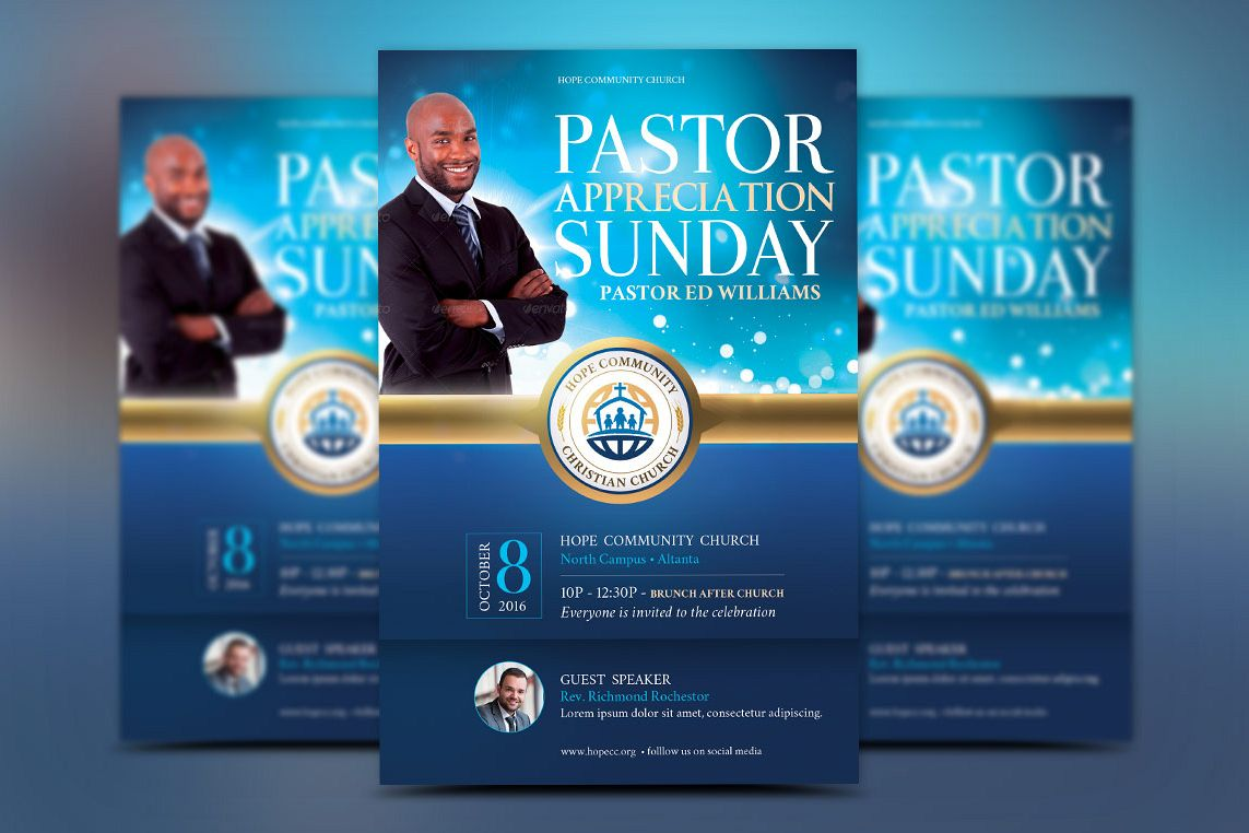 Blue Pastor Appreciation Flyer Template example image 1