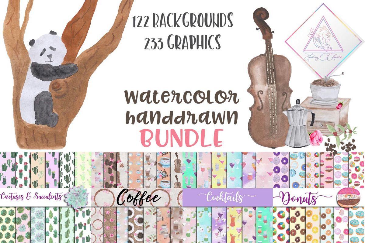 Watercolor Handdrawn BUNDLE example image 1