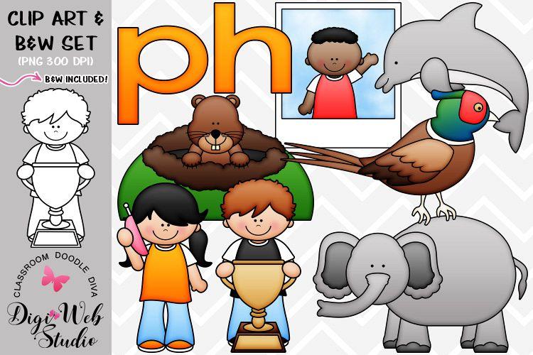 Clip Art / Illustrations - Beg. & Mid. Digraphs - ph Phonics example image 1