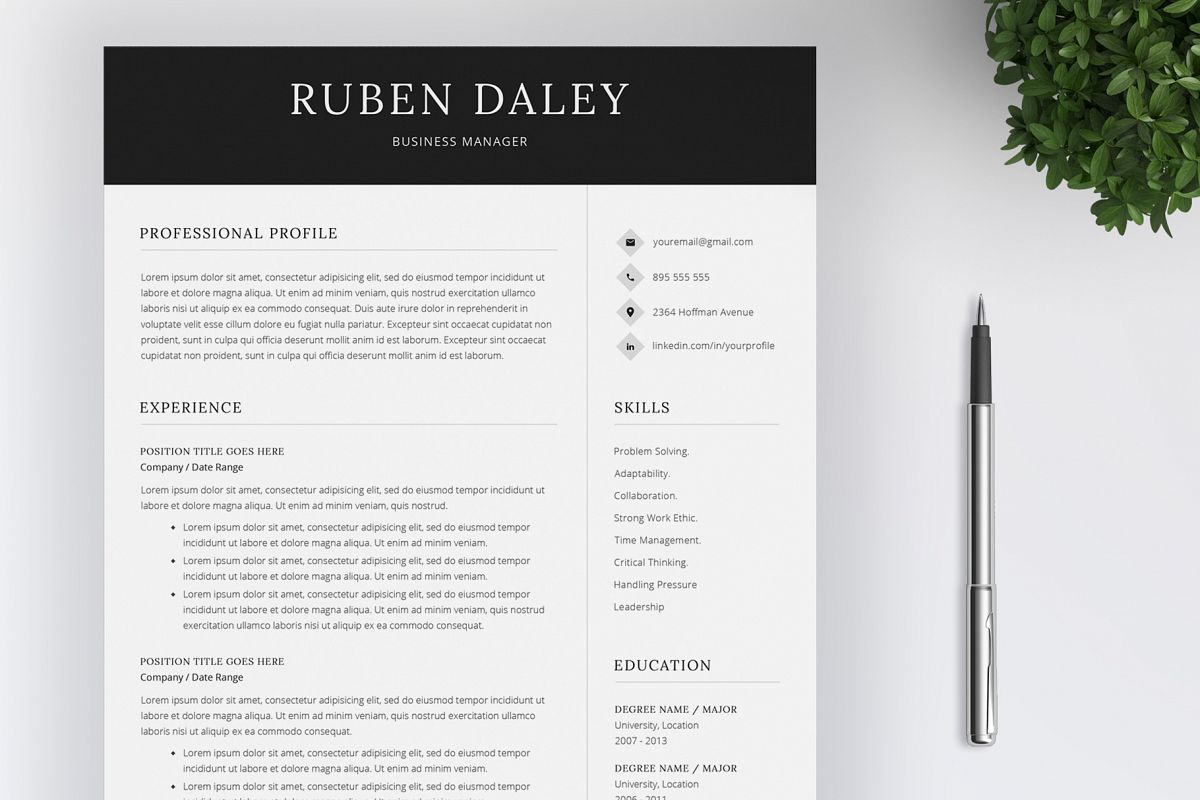 Resume Template and Cover Letter example image 1