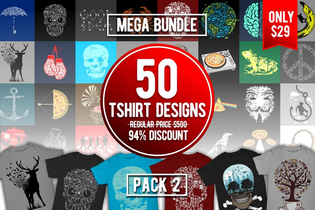 Tshirt Designs Mega Bundle Pack 2 example image 1