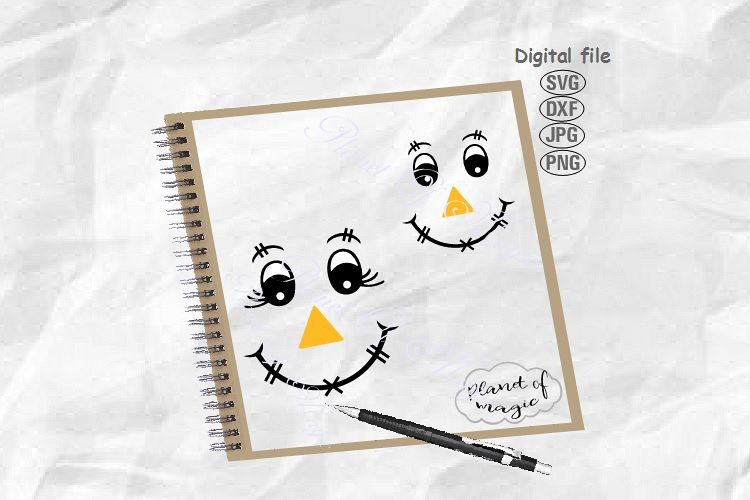 Scarecrow Face Svg, Halloween Svg, Scarecrow Svg example image 1